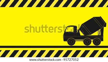yellow construction background with concrete mixer