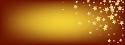 Yellow Cosmos Stars Vector Brown Background. Light Space Template. Dust Texture. Gold Celebration Glow Banner.