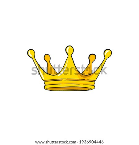 yellow crown on a white background. comic pencil drawing. raster image. vector illustration Сток-фото ©