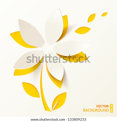 Yellow cutout paper flower vector greeting card