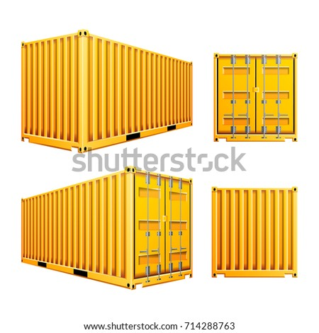 Yellow 3D Cargo Container Vector. Realistic Metal Classic Cargo Container. Freight Shipping Concept. Logistics, Transportation Mock Up. Isolated On White Background Illustration