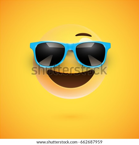 Yellow 3D smiley with sunglasses on yellow background, vector illustration