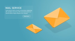 Yellow 3d vector mail icon. Isometric email sending illustration. Mailing letters service concept.