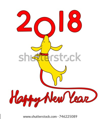 Yellow dachshund puppy with red dog lead in shape of lettering Happy new year jumping and biting zero symbol of 2018. Vector illustration, logo, icon