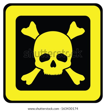 Yellow danger sign with skull (vector illustration)