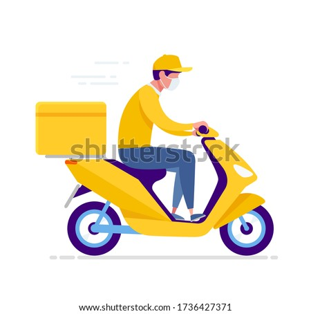 Yellow delivery moto scooter, courier in respiratory mask. Online order and food or product express delivery home and office in quarantine COVID-19 in the city.  Vector illustration Foto stock ©