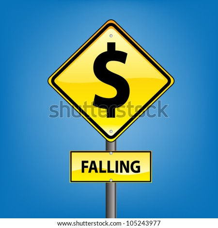 Yellow diamond hazard warning sign against blue sky - Danger Falling Currencies US Dollar indication, vector version