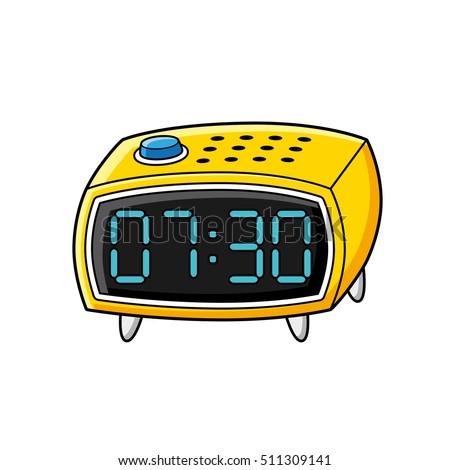 yellow digital alarm clock