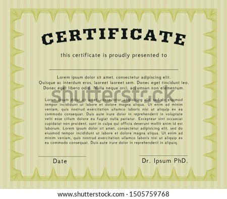 Yellow Diploma or certificate template. Complex background. Good design. Customizable, Easy to edit and change colors.