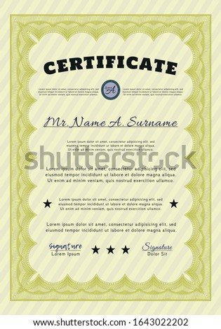 Yellow Diploma or certificate template. Customizable, Easy to edit and change colors. With background. Elegant design.
