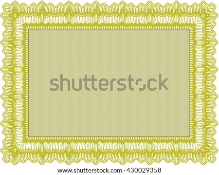 Yellow Diploma or certificate template. Lovely design. Vector illustration. With complex background.