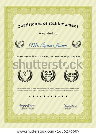 Yellow Diploma or certificate template. With quality background. Customizable, Easy to edit and change colors. Excellent design.