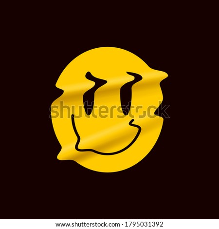 Yellow distorted smile emoji isolated on black background. Yellow smile face logo sticker or poster template for stand up comedy show. Vector illustration. Сток-фото ©