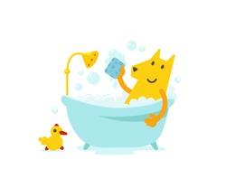 Yellow dog grooming. Hygiene Cute dog taking a Canine bath. Vector cartoon style illustration