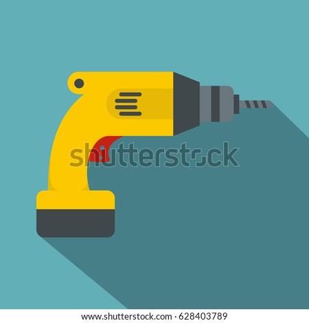 yellow drill icon flat
