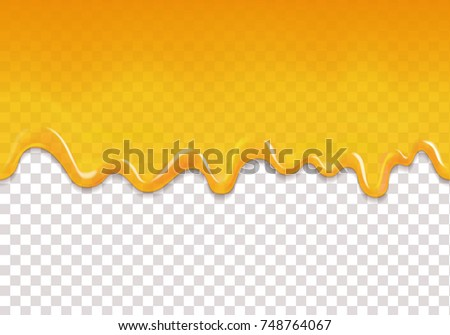 Yellow drips seamless background. Lemon orange jelly or honey drops horizontal vector