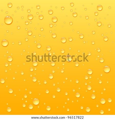 Yellow drops on drink background, illustration - stock vector