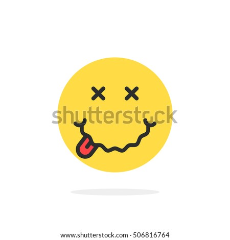 yellow drunk emoji face icon. concept of avatar, illness, sickness, flu, ill, childish, symptom, disease, alcoholic, inebriation. flat style trend modern logotype graphic design on white background Сток-фото ©