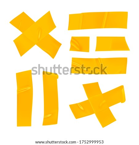 Yellow duct tape set. Realistic yellow adhesive tape pieces for fixing isolated on white background. Adhesive cross and paper glued. Realistic 3d vector illustration