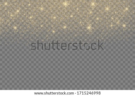 Yellow dust sparks and star shine with special light, Christmas sparkl light effect, sparkle, shine lights, sparkling golden magic dust particles on transparent background, vector illustration.