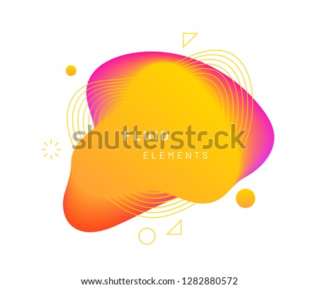 Yellow dynamic light on fluid blotch. Golden gradient liquid blob with circles, triangle and wavy lines. Amber modern abstract background for card design or logo template. Dynamical colored shapes