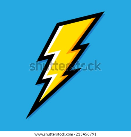 Yellow Electric Lightning Bolt with shading effects on blue sky background vector icon