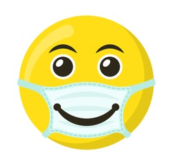 Yellow emoticon and emoji smile in the medical mask, flat vector illustration