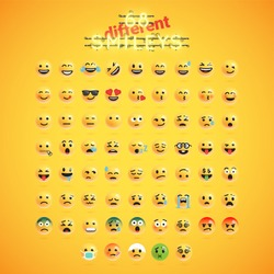 Yellow emoticon realistic face set, vector illustration