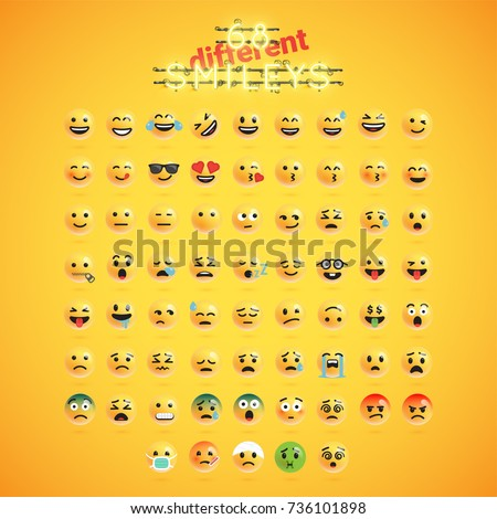 Yellow emoticon realistic face set, vector illustration