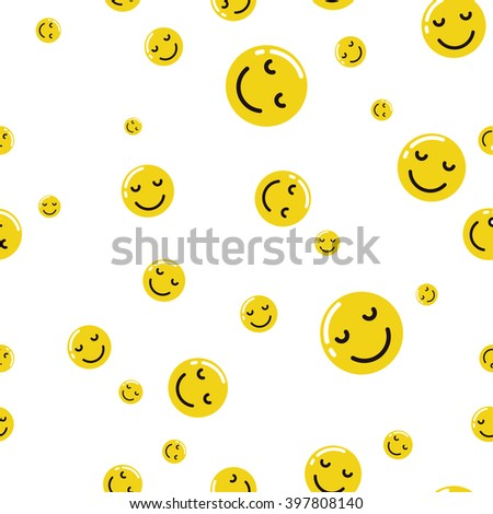 Yellow emoticon  seamless pattern on white background