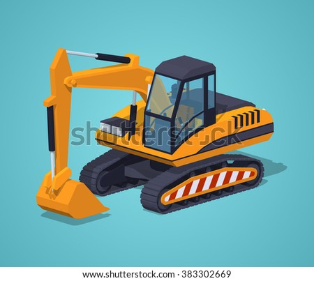 Yellow excavator against the blue background. 3D lowpoly isometric vector illustration
