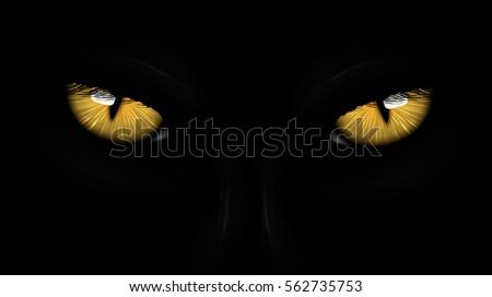 yellow eyes black panther on
