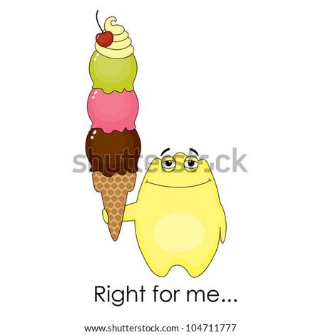 Yellow fantasy monster with ice cream