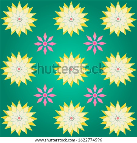 Yellow flower and pink abstract on green background