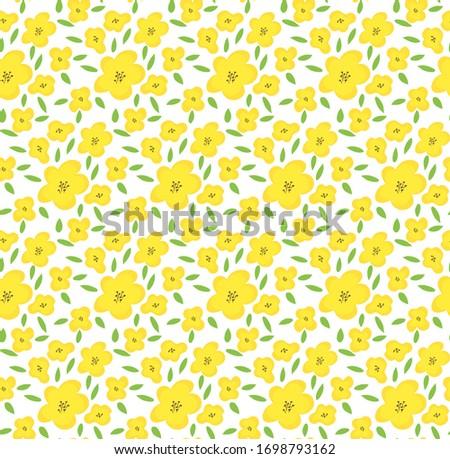 Yellow flower seamless pattern, cute tiny blossom for fabric, fashion textile, feminine print, fresh summer or spring desor, bright plant ornate, romantic. Beautiful vector art. Retro style bouquet