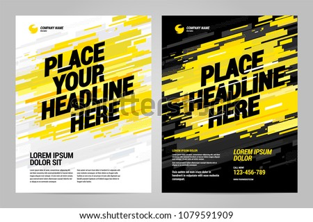 Yellow Flyer design sports invitation template. Can be adapt to Brochure, Annual Report, Magazine, Poster.