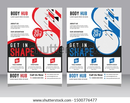 Yellow Flyer design sports invitation template. Can be adapt to Brochure, Annual Report, Magazine, Poster. Modern business cover and flyer template. Multipurpose flyer background, Health Fitness Flyer