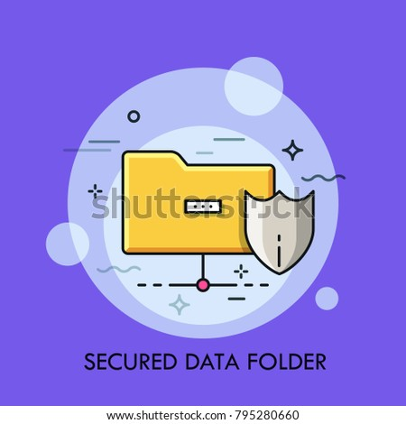 Yellow folder and protective shield symbols. Concept of secured digital data storage, safety and protection of information, protected archive. Creative vector illustration for application, website.