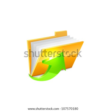 Yellow folder icon with green arrow isolated on white - stock vector