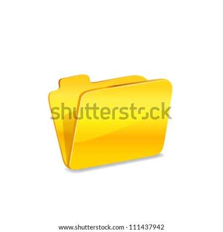 Yellow folder icon with green arrow isolated on white