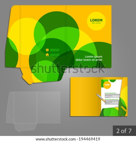 Yellow folder template design for company with green circles. Element of stationery.