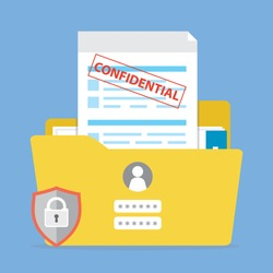 Yellow folder with confidential documents. Sensitive data and information. Data protection. Secure account, profile login and password. Paperwork in office. Flat vector illustration