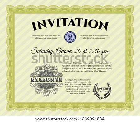 Yellow Formal invitation. With guilloche pattern. Money design. Customizable, Easy to edit and change colors.