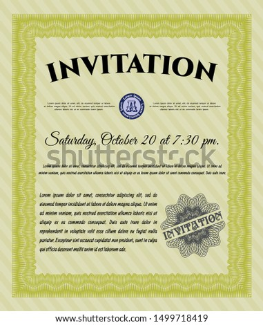 Yellow Formal invitation. With guilloche pattern. Superior design. Customizable, Easy to edit and change colors.