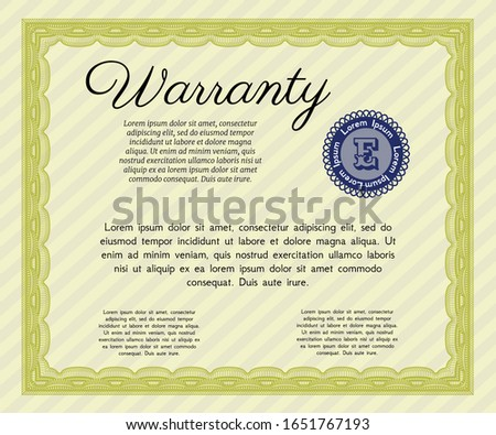 Yellow Formal Warranty Certificate template. Sophisticated design. With guilloche pattern and background. Customizable, Easy to edit and change colors.