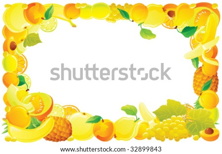 Yellow fruit frame. Vector illustration.