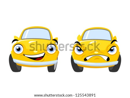 yellow funny cartoon cars
