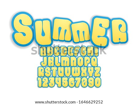 Yellow funny font, bright bold alphabet in the cartoon style, playful rounded letters from A to Z and numbers from 0 to 9 for you designs: logo, t-shirt, kids card, poster, vector illustration 10EPS Stock foto ©