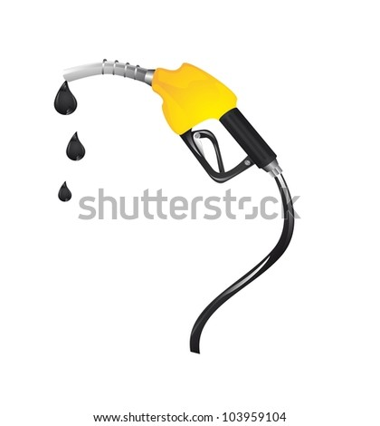yellow gasoline fuel with drops over white background. vector
