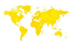 yellow geometric blank world map